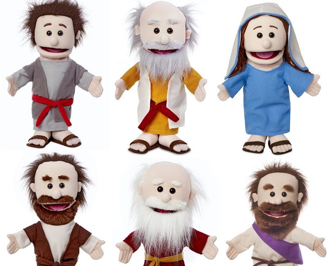 """Puppet Ministry Set of 6 14"""" Bible Character Puppets: Kid's Church & Sunday School Puppets"""