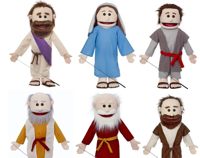 """Puppet Ministry Set of 6 25"""" Bible Character Puppets - Over 400 Dollar Value"""