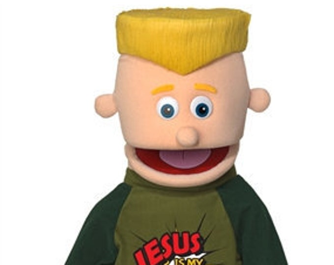 """New 25"""" Puppet Boy w/ """"Jesus is My Superhero"""" Shirt - Full Body Professional Puppet for Puppet Ministry & Church"""