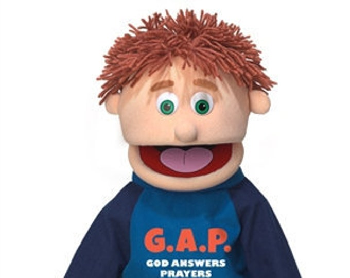 """New 25"""" Puppet Boy w/ """"God Answers Prayers"""" Shirt - Full Body Professional Puppet for Puppet Ministry & Church"""