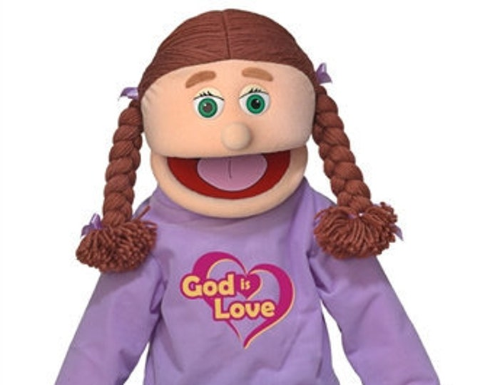 """New 25"""" Puppet Girl w/ """"God Is Love"""" Shirt - Full Body Professional Puppet for Puppet Ministry & Church"""