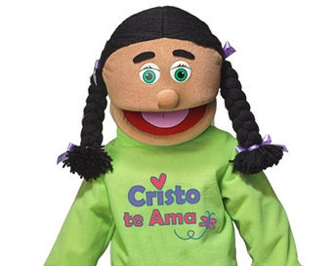 """New 25"""" Puppet Girl w/ """"Cristo Te Ama"""" Shirt - Full Body Professional Puppet for Puppet Ministry & Church"""