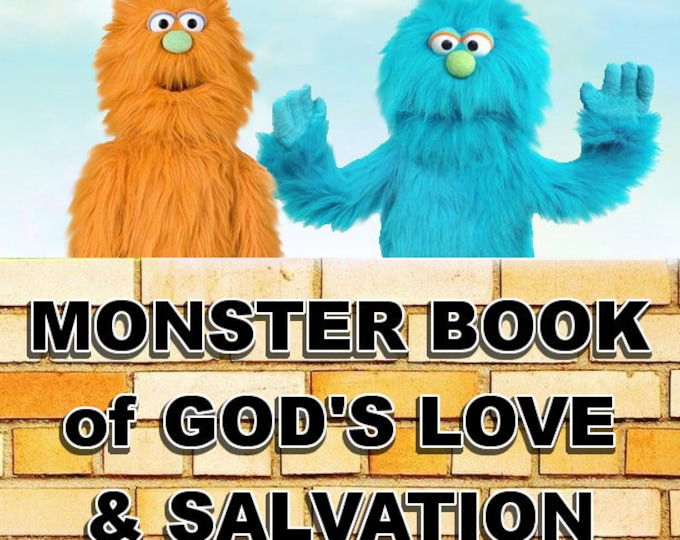 """2 NEW 30"""" Monster Puppets w/ Puppet Skit Book to Help Children Memorize & Apply God's Word! 12 Weeks of Puppet Ministry Bible Verse Skits"""