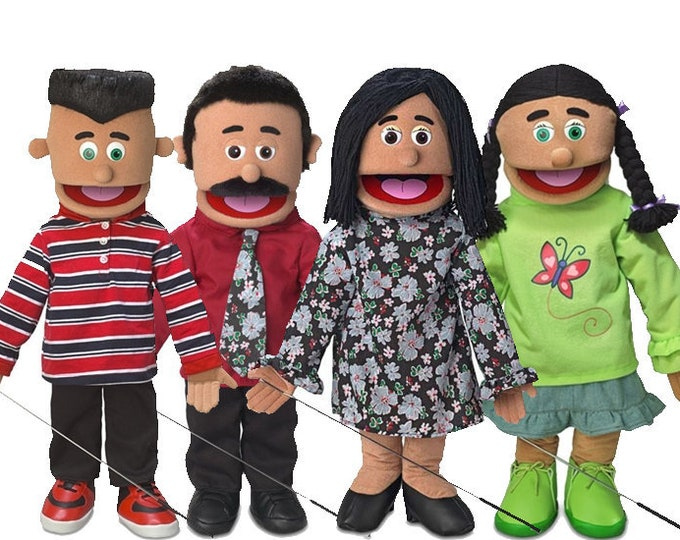 """Puppet Starter Set: Hispanic Family of 4 New 25"""" Professional Full Body Puppets w/ Arm Rods - Big Mouth Muppets"""