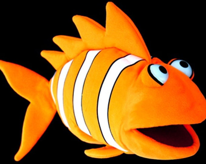Black Light Clown Fish Puppet. Large Neon Orange Puppet for Professional Puppetry Use. Use in Blacklight Puppet Shows or Daylight.