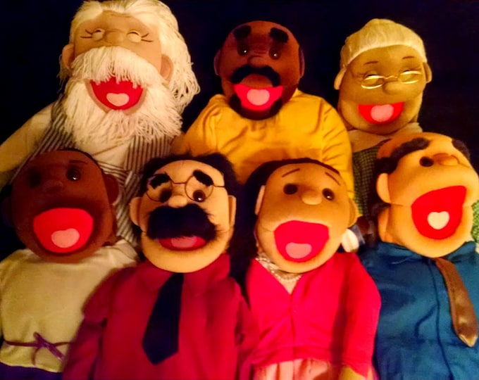 """Puppet Starter Set of 7 Puppets! 7 New Full/Half Body Large 30"""" Rod Arm Puppets for Professional Use & Puppet Ministry"""