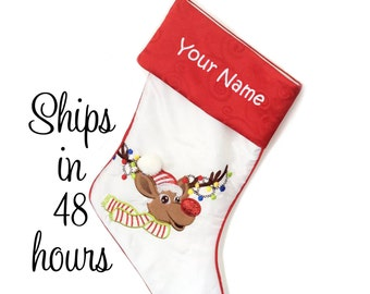 Personalized Christmas Stocking - White Reindeer with Embroidered Name