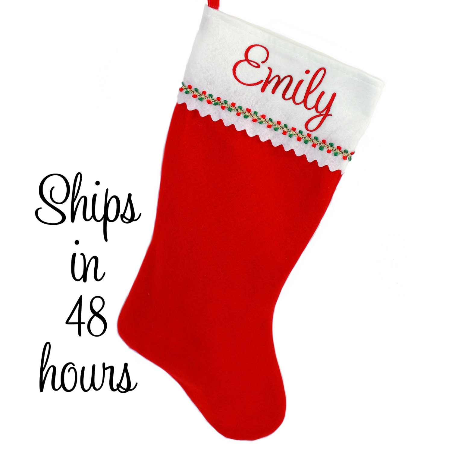 Personalized Christmas Stocking Red Felt with Embroidered ...