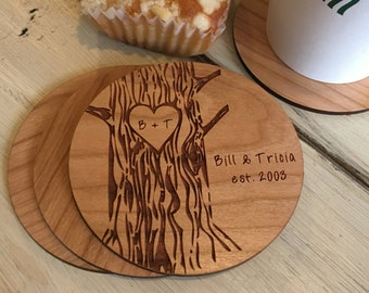 Custom Coasters, Wedding Gifts for Couple, Christmas Gift, Personalized Gift, Drink Coasters, Wood Coasters, Anniversary Gift, Couples Gift