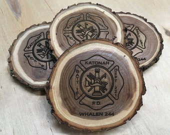 Firefighter Gift   Fireman Gift   Fire Emblem Gift   Firefighter Decor   Maltese Cross Gift   Fathers Day   Personalized Coasters, Set of 4