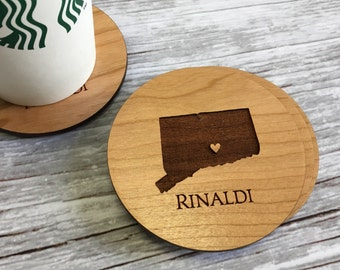 Personalized Coasters, Unique Christmas Gift, Housewarming Gift, Closing Gift, Stocking Stuffer, Wood Coasters, Drink Coasters, Gift for Her