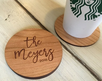 Wood Coasters | Personalized Coasters | Custom Coasters | Engraved Coasters | Last Name Established | Wooden Coasters | Gift for Couple