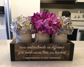 Custom Retirement Gifts | Appreciation Gift for Coworker | Retirement Gift for Women | Flower Box w/ Jars | Trending Now Retirement Gifts & Retirement gifts | Etsy