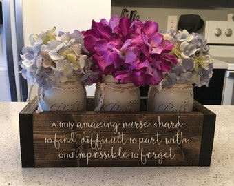 Amazing Nurse Gift   Hard to Find, Difficult to Part With   Trending Now   RN Gift Idea   Registered Nurse - Engraved Flower Box w/ Jars