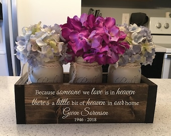 Memorial gift etsy memorial gift a little bit of heaven in our home in memory of gift in loving memory sympathy gift engraved planter box w jars solutioingenieria Choice Image