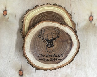 "Personalized Deer Coasters, Hunting Gifts for Men, Antler Decor, Wood Coasters for Fathers Day - ""Personalized Log Coasters - Set of 4"""