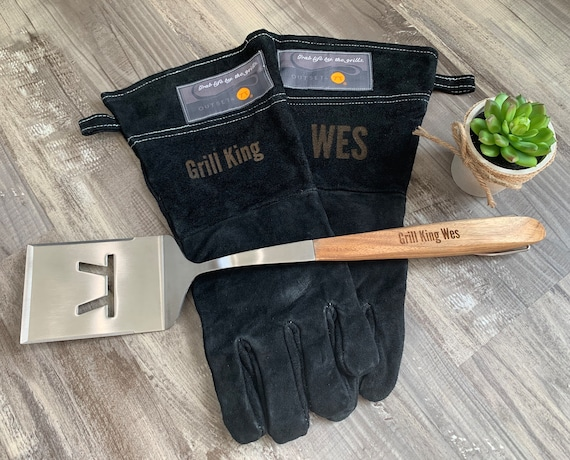 Personalized Leather Grilling Gloves