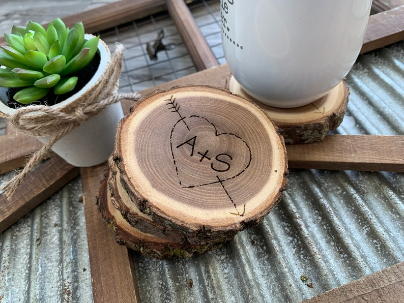 Valentines Day Gift for Her  Engraved Log Coasters  image 0