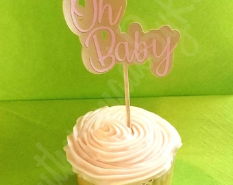 Baby shower cupcake topper. Oh baby, it's a girl! You pick your colors.