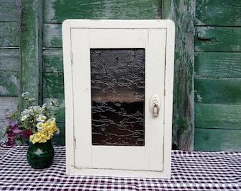 Antique vtg.  Kitchen Cabinet Cupboard. Rustic Kitchen Cupboard  ,White  Painted *