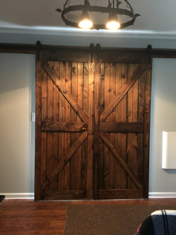 Custom Size Solid Wood Farm Style Sliding Barn Doors Etsy