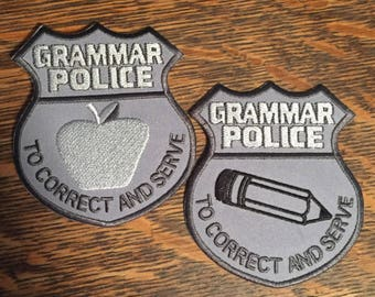 Grammar Police Badge Patch
