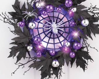 Lighted Spiderweb Purple and Black Wreath Halloween decor Wreath