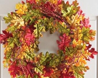 Fall Harvest Autumn Wreath  Door Wreath Leaves foliage Wreath