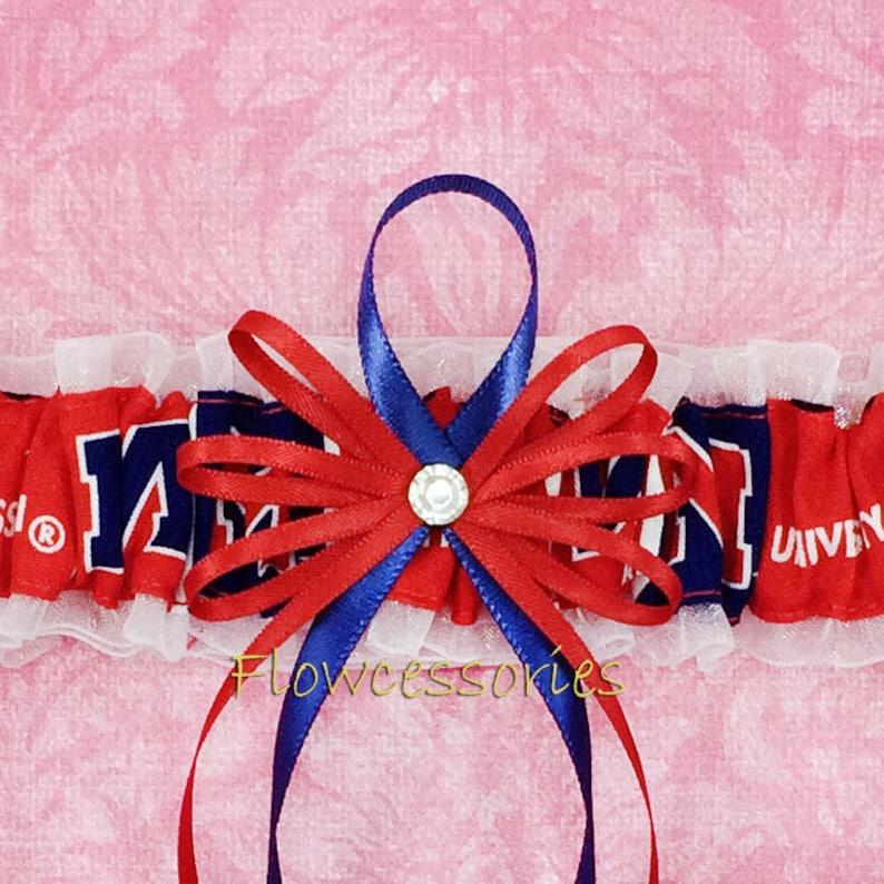 Ole Miss Rebels handmade bridal wedding garter University of Mississippi Rebels toss Pick Charm