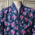Girl's Floral Print Bomber Jacket - Navy Blue Jackets for Girls - Floral Bomber Jacket - Girl Bomber Jacket - Flower Bomber Jacket for Kids
