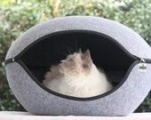 Pet Bed Pod Felt Grey
