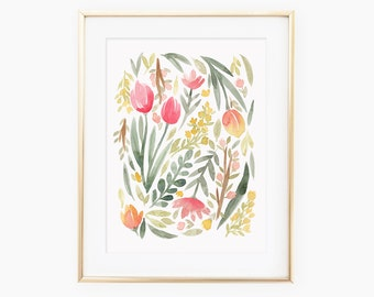 Green Spring Floral Watercolor Art Print