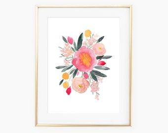 Pink Peonies Summer Watercolor Floral Art Print