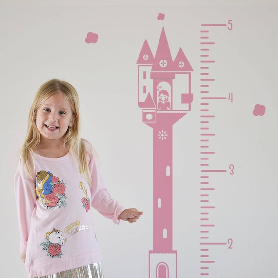 Growth Chart Decal: Princess/ Sticker Height Chart Wall decal / Ruler Decal Nursery decor / Kids room decor / Princess