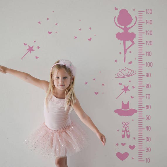 Growth Chart Decal: Ballerina / Sticker Height Chart Wall Decal / Ruler Decal Nursery decor / Kids room decor / Ballet