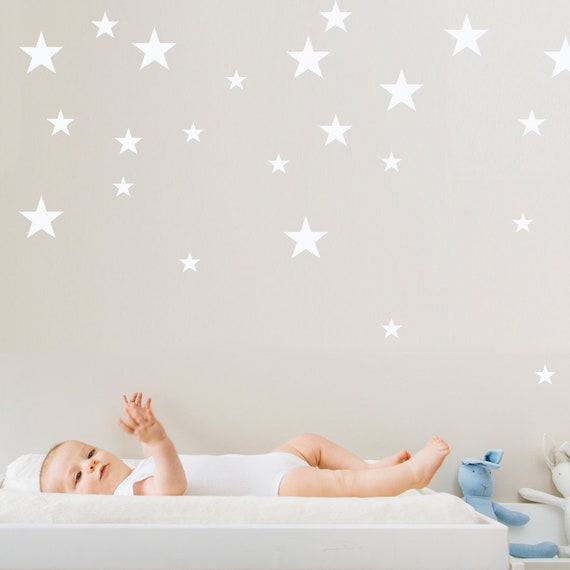 Assorted Star Wall Decal, Mini Size Star Pack, Kids wall decoration, Nursery Wall Decal