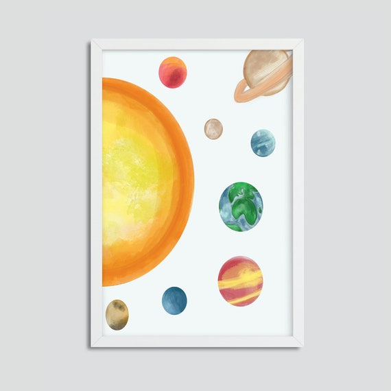 Solar System, Watercolor, Space Print
