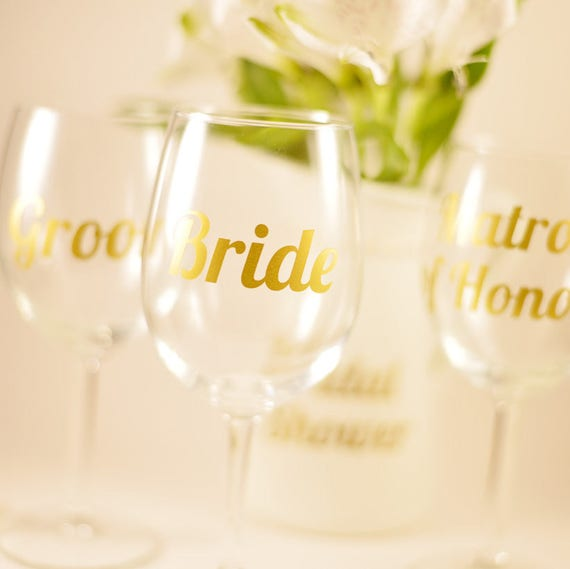 Set of Bridal Party Glass Decals - Wedding Decorations