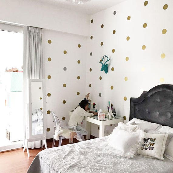 Gold Polka Dots, Confetti wall stickers, Gold Polka Dot Decal, Wall Metallic Golden Vinyl Wall Art, Gold Vinyl Wall Decals