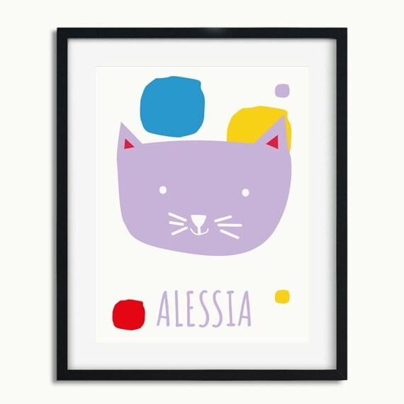 Printable Modern Nursery Decor - Cat Print