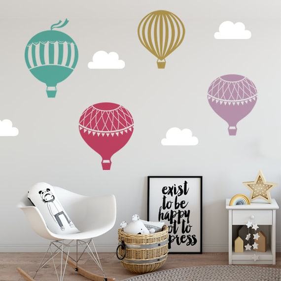Air Balloons Wall Decal, Wall Decal Sticker, Hot Air Balloons Wall Sticker, Air Balloons Baby Nursery Decor, Kids Room Decal