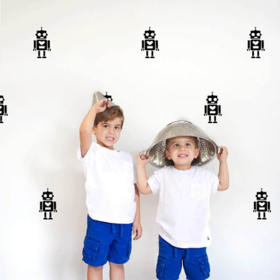 Mini Robots, Vinyl Wall Art Decal Graphics for Kid's Rooms, Nurseries, Bedrooms