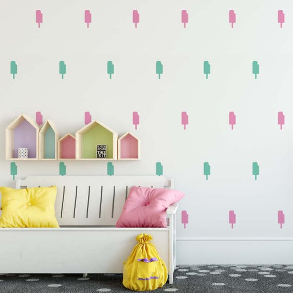 Mini Popsicle, Ice Cream Theme Nursery Wall Art - Cute Sweets Dessert Decals For Baby Boy And Baby Girl Rooms