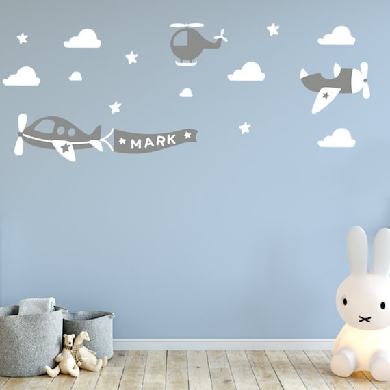 Airplane Decals Airplane Wall Decals - Childrens Room Decor Kids Room, Vinyl Wall Decal Airplanes