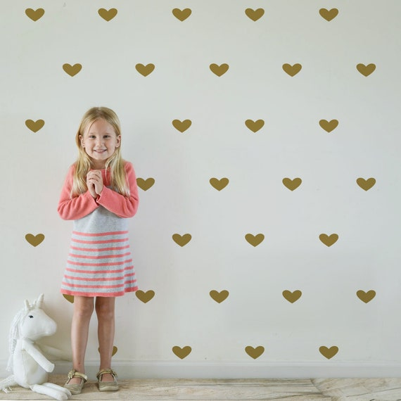 Gold Heart Decals, Confetti wall stickers, Heart Decal, Wall Metallic Golden Vinyl Wall Art, Gold Vinyl Wall Decals