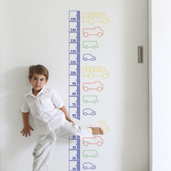 Growth Chart Decal: Transportation / Sticker Height Chart Wall decal / Ruler Decal Nursery decor / Kids room decor / Transportation