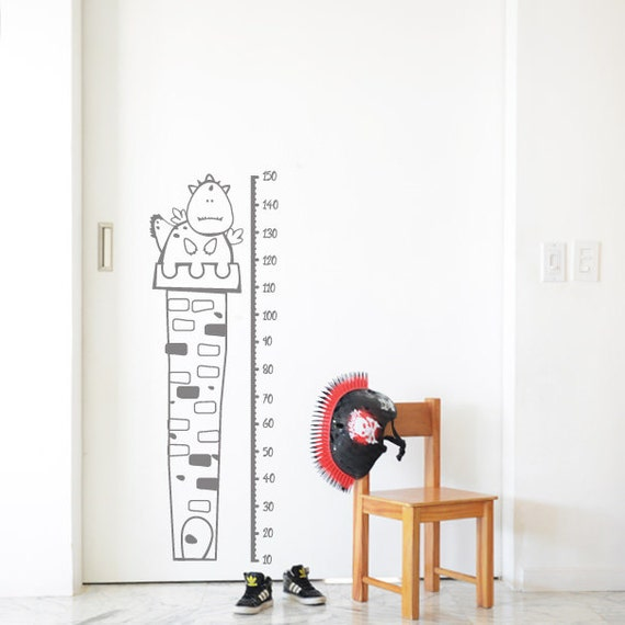 Growth Chart Decal: Puffy The Dragon / Sticker Height Chart Wall Decal / Ruler Decal Nursery Decor / Kids room decor