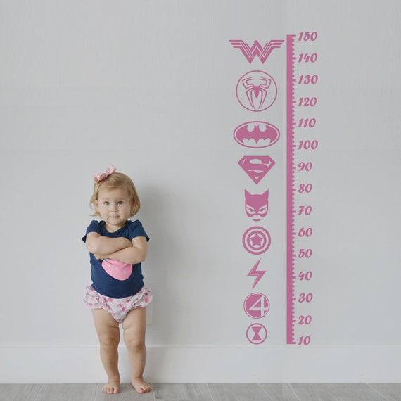 Growth Chart Decal: SuperGirl / Sticker Height Chart Wall decal / Ruler Decal Nursery decor / Kids room decor / Supergirl