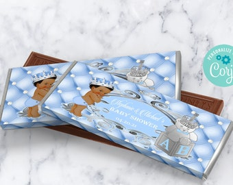 EDITABLE | Light Blue and Silver Royal Baby Shower Candy Bar Label | A Prince is on the Way | Royal Blue Baby Shower Theme | LB91