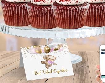 PRINTABLE Teddy Bear Baby Shower Tent Card | Teddy Bear Theme | Pink | We Can Bearly Wait | Bear Baby Shower | BB06